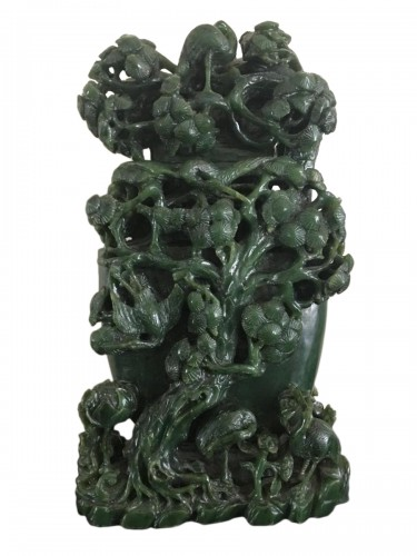 Large Vase Covered In Dark Green Nephrite Jade