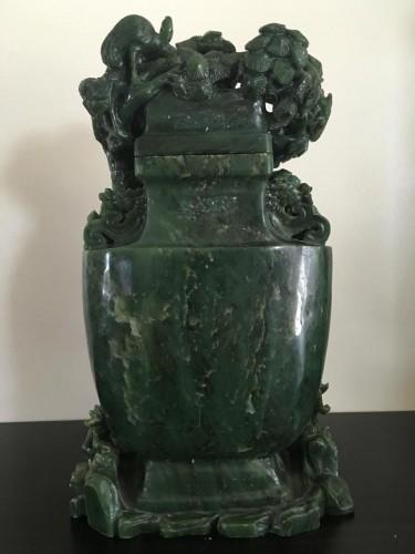 Asian Art & Antiques  - Large Vase Covered In Dark Green Nephrite Jade
