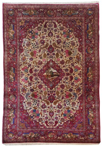 Beautiful Kachan carpet in Silk - Iran Around 1900 - 19th Century