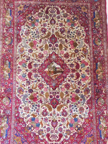 Beautiful Kachan carpet in Silk - Iran Around 1900 - 19th Century - Tapestry & Carpet Style
