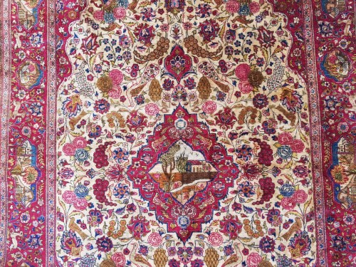 - Beautiful Kachan carpet in Silk - Iran Around 1900 - 19th Century