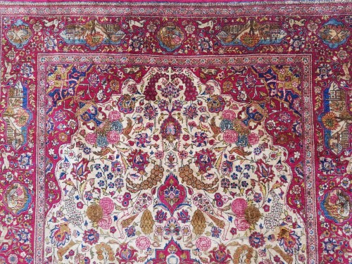 Antiquités - Beautiful Kachan carpet in Silk - Iran Around 1900 - 19th Century