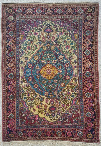 Teheran Wool Carpet Late 19th Century Iran