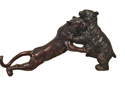 Fight Of A Panther And A Bronze Bear Japan Late 19th