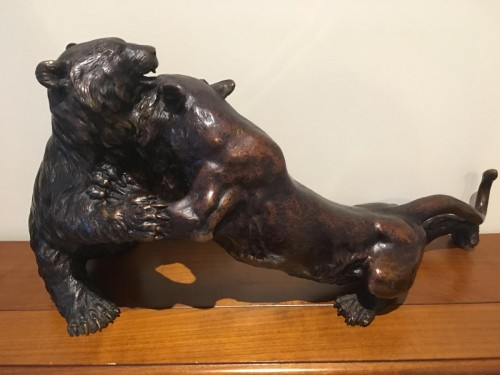 Fight Of A Panther And A Bronze Bear Japan Late 19th - Asian Art & Antiques Style