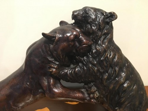 Asian Art & Antiques  - Fight Of A Panther And A Bronze Bear Japan Late 19th