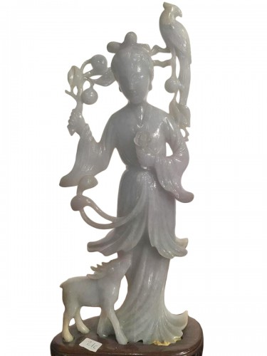 Goddess Of Spring In Gray And Green Jade China Late 19th