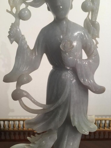 Goddess Of Spring In Gray And Green Jade China Late 19th -