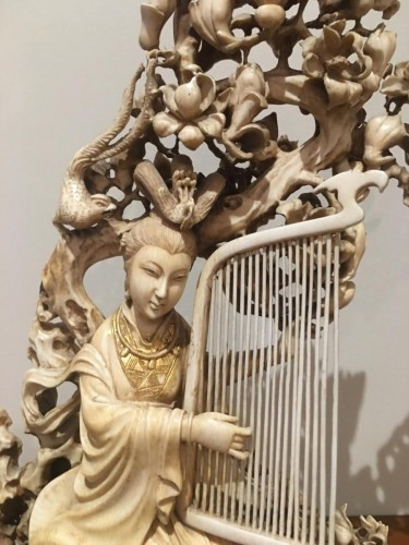 Goddess Of Spring With The Harp Among Flowers - Asian Art & Antiques Style