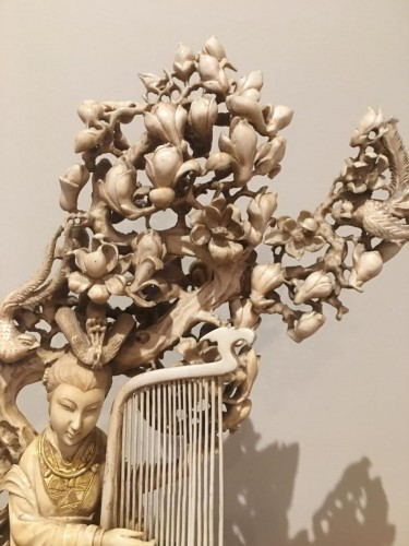Asian Art & Antiques  - Goddess Of Spring With The Harp Among Flowers