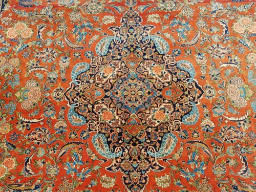Kachan Dabir Wool Rug - Iran End Of 19th Century- Large Size -