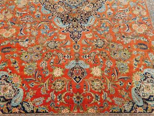 19th century - Kachan Dabir Wool Rug - Iran End Of 19th Century- Large Size
