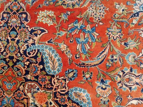 - Kachan Dabir Wool Rug - Iran End Of 19th Century- Large Size