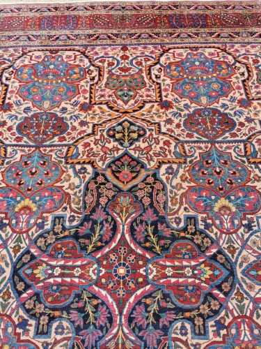 19th century - Large Kachan Manchester Carpet Kork Wool - Iran Circa 1880