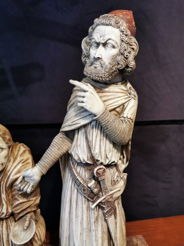 Ivory Representing The Royale Obole To A Beggar - Spain XVIII - Sculpture Style