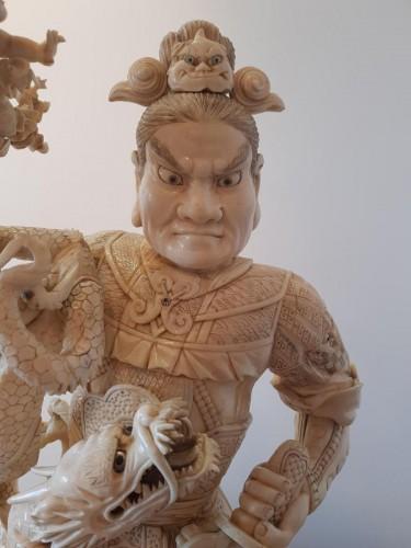 Okimono Representative The Guerrie Shoki On A Dragon - Japan Late 19th -