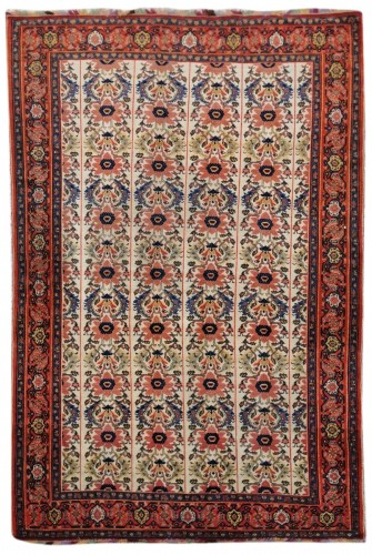 Fine Senneh Rug In Kork Wool Iran End Of 19th