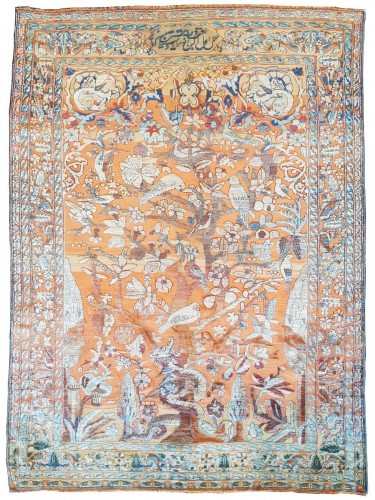Rare And Fine Kirman Soof In Silk - Middle Persia 19th Century