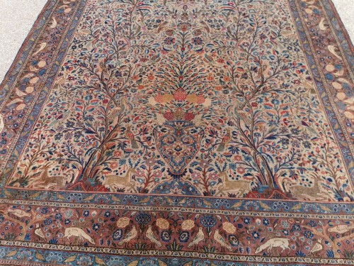 Rug Kachan Dabir Kork Wool - Iran Late 19th - Tapestry & Carpet Style