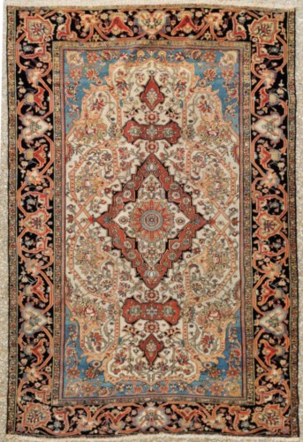Ferahan Wool Kork Silky Rug - Iran Late 19th