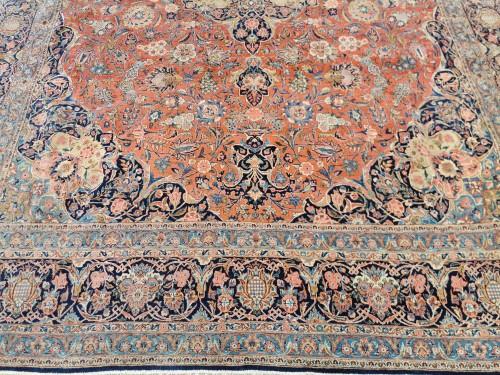 19th century - Large Kachan Manchester Carpet In Kork Wool - Iran Late 19th