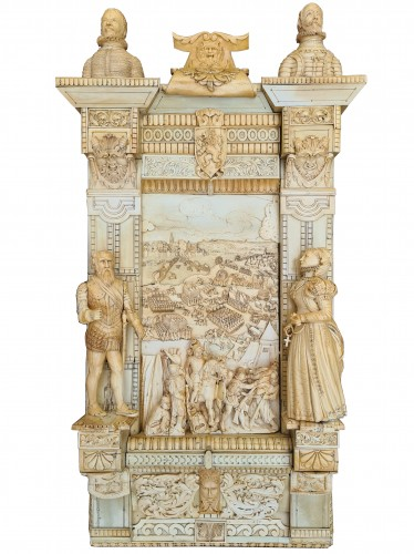 Exceptional and Important Ivory Panel - The Siege of Breda (1624) - France early 19th century