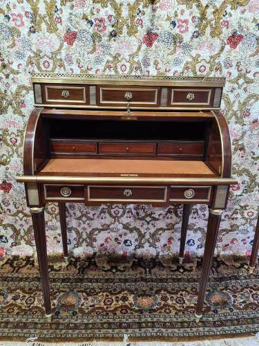 Small Mahogany and Gilt Bronze Sormani Cylinder Desk - France 19th - Furniture Style Napoléon III