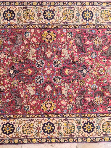 Tapestry & Carpet  - Extremely Rare Kum Kapu Signed Carpet - Iran 19th