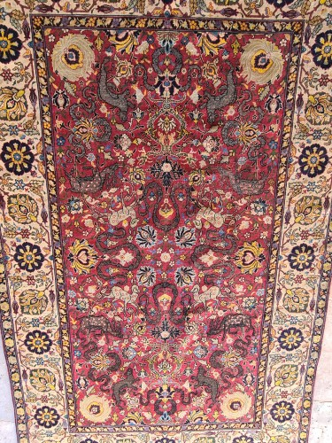 19th century - Extremely Rare Kum Kapu Signed Carpet - Iran 19th