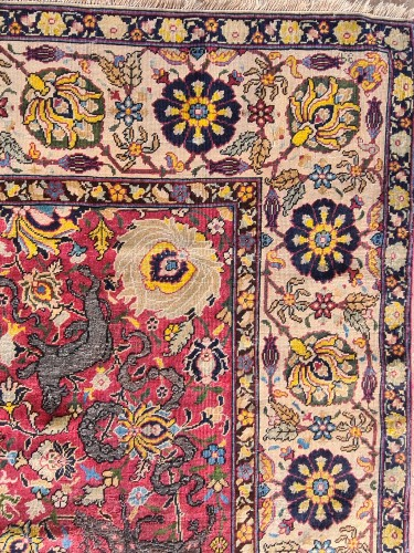 - Extremely Rare Kum Kapu Signed Carpet - Iran 19th