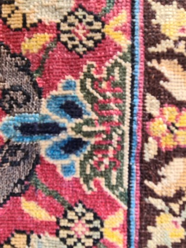 Antiquités - Extremely Rare Kum Kapu Signed Carpet - Iran 19th