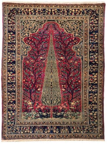 Kashan Mortachem Rug In Kork Wool Late 19th Century