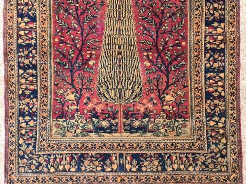 Tapestry & Carpet  - Kashan Mortachem Rug In Kork Wool Late 19th Century