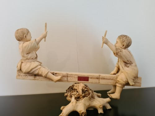 19th century - Okimono Ivory - Two Children On A Swing - Japan 19th