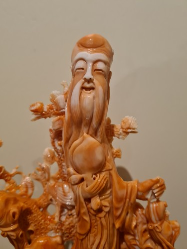 Coral China Beijing Representing The God Of Longevity - China Circa 1930 - Asian Works of Art Style