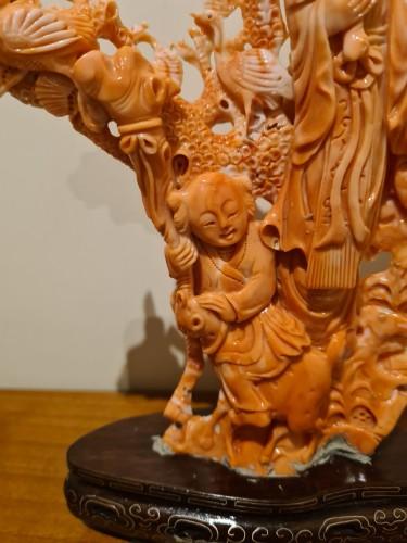 Coral China Beijing Representing The God Of Longevity - China Circa 1930 -