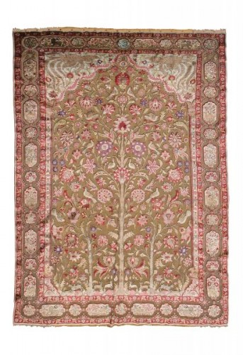 A late 19th century Kachan Soof Persian in Silk