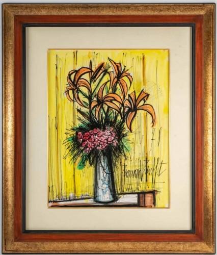 Liliups And Pink Flowers I - Bernard Buffet - Dated 1978