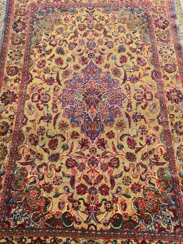 Tapestry & Carpet  - Kachan Soof Silk Silver Metal - Iran Late 19th Century