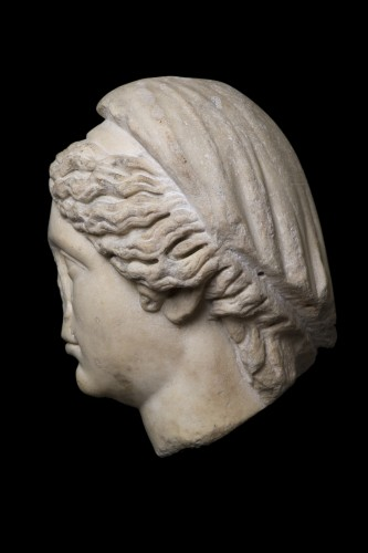 Marble head of a draped and hairdresser women, Roman - Ancient Art Style