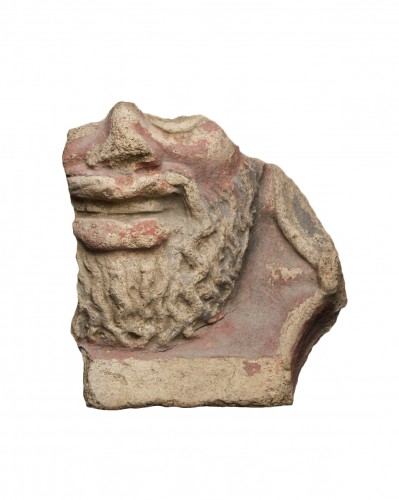 Fragment of an antefix depicting a bearded man