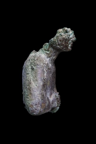 Fragment of a bronze Osiris statue, Egyptian -