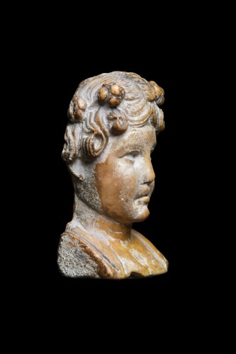 Marble herm pilar depicting a young maenad, Roman - Ancient Art Style