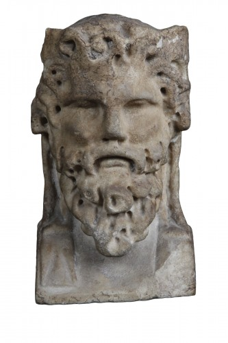 Marble herm pilar depicting Bacchus, Roman