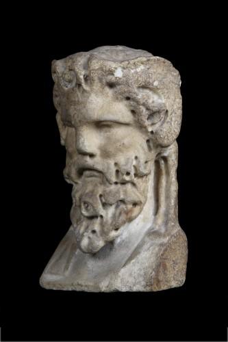 Ancient Art  - Marble herm pilar depicting Bacchus, Roman