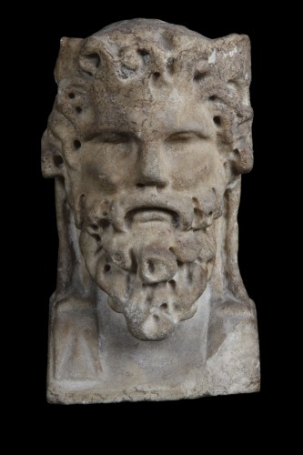 Marble herm pilar depicting Bacchus, Roman -