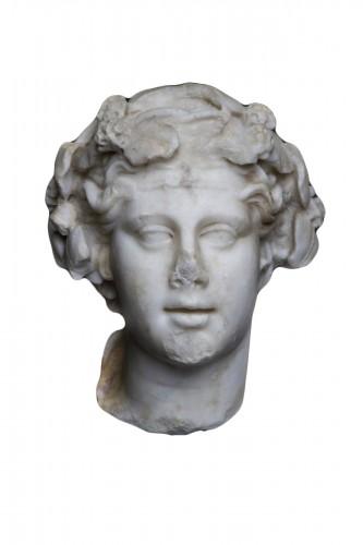 Marble head of Dionysos, Roman