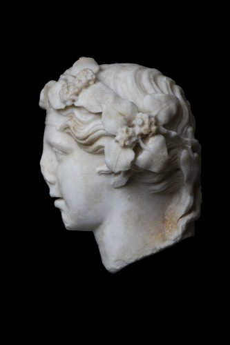 Marble head of Dionysos, Roman - Ancient Art Style