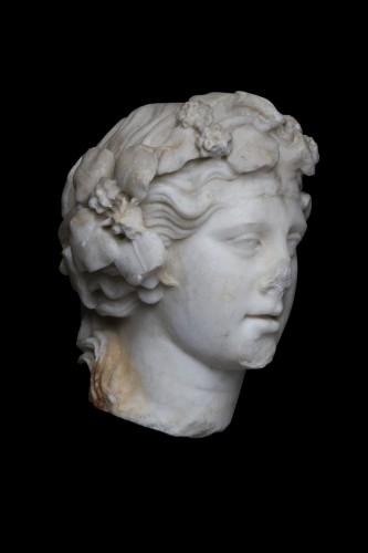 Ancient Art  - Marble head of Dionysos, Roman