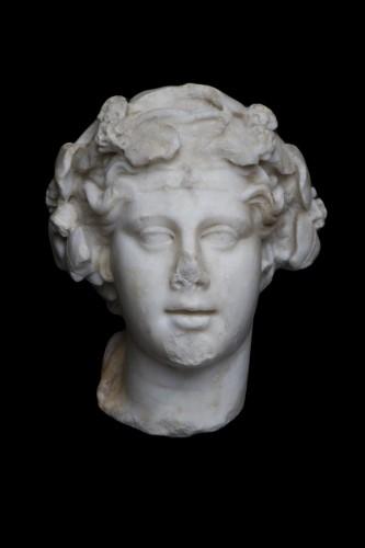 - Marble head of Dionysos, Roman